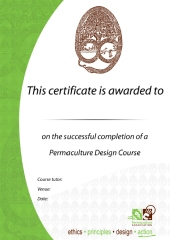 Permaculture Association design course certificate